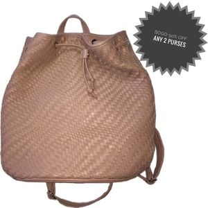 Deux Lux | Drawstring Woven Faux Leather Backpack